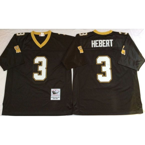 New Orleans Saints Bobby Hebert Black Jersey